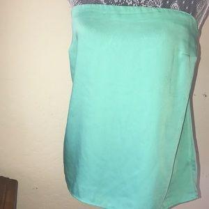 Bright green strapless top.Back zipper